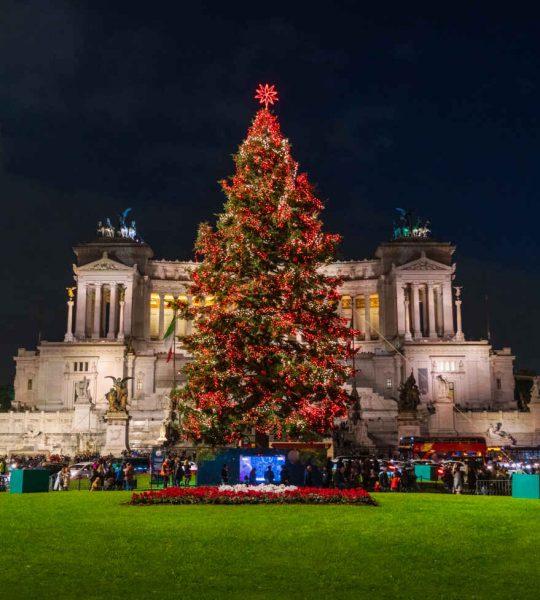 Piazza Venezia à Noël, Rome, Italie