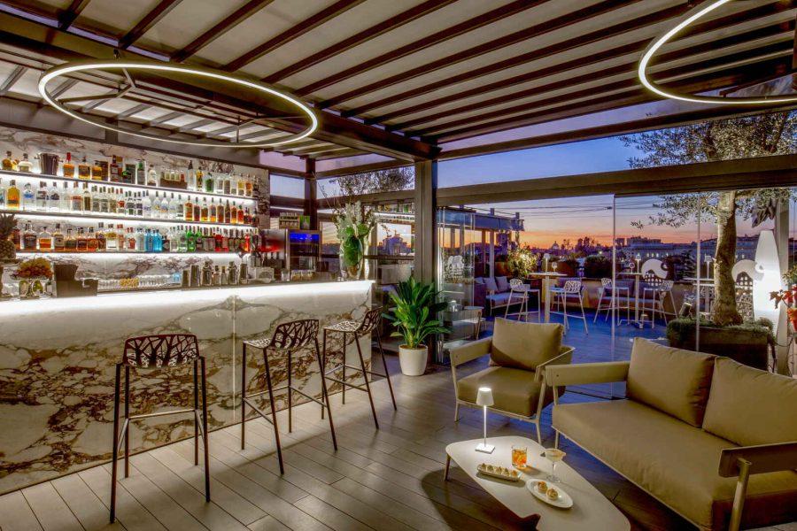 Bar et terrasse, Hôtel Monti Palace, Rome, Italie