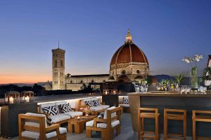 Terrasse Rooftop,Grand Hôtel Cavour, Florence, Italie.