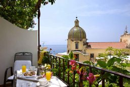Balcon, chambre supérieure vue mer latérale, ôtel Palazzo Murat, Positano, Campanie, Italie