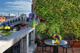 Terrasse et vue sur le pont du Rialto, hôtel Rialto, Venise, Vénétie, Italie