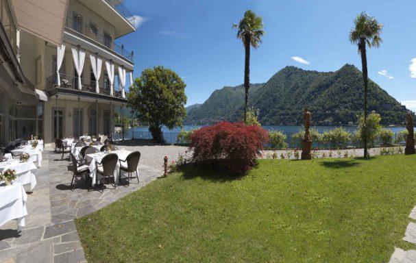 Terrasse, restaurant, hôtel Villa Flori, Côme, Lombardie, Italie