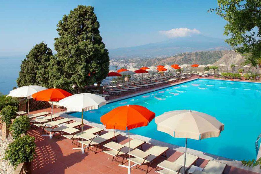 Piscine, hôtel Villa Diodoro, Sicile Italie