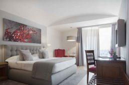 Chambre classique double vue mer, hôtel Grand Hotel Mazzarò Sea Palace, Taormine, Sicile, Italie