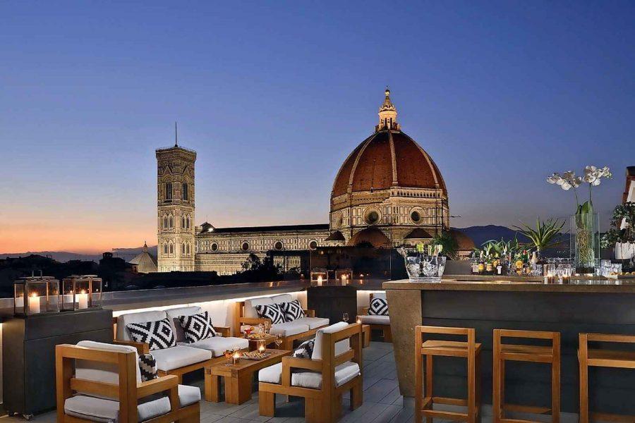 Terrasse Rooftop,Grand Hôtel Cavour, Florence, Italie.