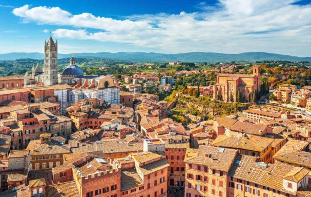 Vue aérienne, Sienne, Italie